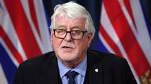 B.C.'s chief medical officer Perry Kendall speaks about the latest statistics on illicit drug overdose deaths and fentanyl-detected overdose deaths during a press conference in Victoria on Jan. 18, 2017. (Chad Hipolito/THE CANADIAN PRESS)