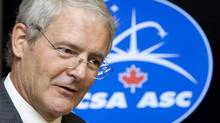 Canadian astronaut and Liberal MP Marc Garneau speaks during an event on Parliament Hill in Ottawa, Ont., Monday October 5, 2009. Documents show at least two ministers' offices helped plan a Canadarm event that snubbed Canada's first astronaut, Marc Garneau, now a Liberal MP. (Sean Kilpatrick/THE CANADIAN PRESS)