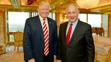Israeli Prime Minister Benjamin Netanyahu (R) stands next to Republican U.S. presidential candidate Donald Trump during their meeting in New York, September 25, 2016. (HANDOUT/REUTERS)