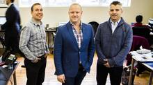 The guys behind itracMarketer are Steve Vermeiren, left, vice-president of customer success and marketing, and co-CEOs Justin Parker and Sean Kenalty. (Mark Blinch For The Globe and Mail)