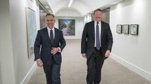 BMO capital-markets head Pat Cronin, left, and Luke Seabrooke, the division's chief operating officer, pose at the First Canadian Place corporate head office in Toronto. Both aim to push for 'a more holistic view' of BMO's relationships with clients. (J.P. MOCZULSKI/The Globe and Mail)