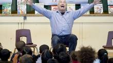 Robert Munsch celebrates Family Literacy Day at Willow Park Junior Public School in Scarborough. A selection of his stories will receive kids-theatre stagings at Toronto Public Library's Palmerston branch this weekend. (Ashley Hutcheson for The Globe and Mail)