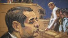 "Former New York City police officer Gilberto Valle, dubbed by local media as the ""Cannibal Cop,"" during his trial as seen in acourtroom sketch in New York, March 12, 2013. (Reuters)"