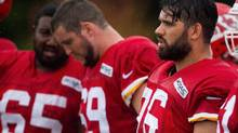 Kansas City Chiefs guard Laurent Duvernay-Tardif, right, looks on during NFL training camp on Aug. 7, 2016. (Dougal Brownlie/The Associated Press)