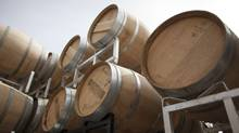 Barrels from Laughing Stock Vineyards in Penticton, B.C. (Jeff Bassett for The Globe and Mail)