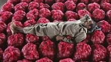 A man takes a nap on sacks filled with onions at a wholesale vegetable market on the outskirts of Jammu on Wednesday. Indian headline inflation climbed to its highest in more than a year as prices of food and manufactured goods surged, reinforcing the case for another rate hike on Friday despite weakening growth and a worsening global outlook. (MUKESH GUPTA/MUKESH GUPTA/REUTERS)