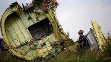 A Malaysian air crash investigator inspects the crash site of Malaysia Airlines Flight MH17, near the village of Hrabove (Grabovo) in Donetsk region, Ukraine, July 22, 2014. REUTERS/Maxim Zmeyev/File Photo TPX IMAGES OF THE DAY (MAXIM ZMEYEV/REUTERS)