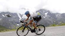 Garmin-Cervelo's Ryder Hesjedal of Canada descends the Col du Galibier during the 19th stage of the Tour de France cycling race, from Modane to Alpe d' Huez, July 22, 2011. (STEFANO RELLANDINI/REUTERS)