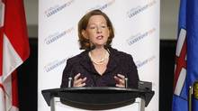 Alberta Progressive Conservative leadership candidate Alison Redford speaks during a leadership debate in Calgary on Sept. 7, 2011. (Jeff McIntosh/The Canadian Press)