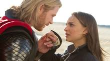 "Chris Hemsworth and Natalie Portman in a scene from ""Thor."" (Zade Rosenthal/AP)"