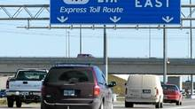 Vehicles travelling eastbound on the 407 Express Toll Route (ETR) just before the exit for the 400 Highway. (Louie Palu/The Globe and Mail)