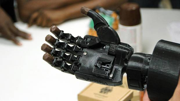 The Victoria Hand being demonstrated to a group of Haitian technicians who were learning to 3D print and assemble 3D printed Prosthetics