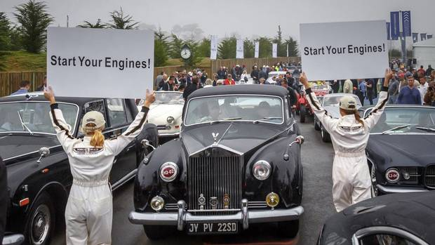 The start of the Pebble Beach Tour d'Elegance, part of the Monterey Peninsula's classic car week. The tour is a parade open to all entrants in the Pebble Beach Concours d'Elegance. The event underscores the early history of the Monterey peninsula, tracing parts of the original 17-Mile Drive that was the course for the Pebble Beach Road Races, includes a lunch in Carmel-by-the-Sea for all participants and drive down Highway 1 to Big Sur. (Tom O'Neal/AP Photo/Rolex)
