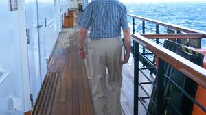Bill Tossell gets up early for a stroll around the promenade deck.