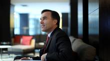 Minister of Finance Bill Morneau smiles during an interview November 5, 2015 in Ottawa. (Dave Chan for The Globe and Mail)