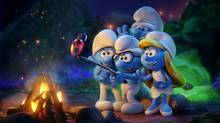 Hefty (Joe Manganiello), Brainy (Danny Pudi), Clumsy (Jack McBrayer) and Smurfette (Demi Lovato) in Smurfs: The Lost Village (Sony Pictures Animation)