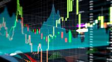 Candle stick graph and bar chart of stock market investment trading. Analysis Forex price display on computer screen. (scyther5/Getty Images/iStockphoto)