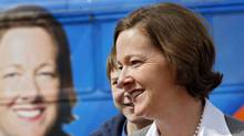 Alberta Conservative leader Alison Redford makes a campaign stop at Father Whelihan School in Calgary, Alta., Monday, April 16, 2012. (Jeff McIntosh/THE CANADIAN PRESS)