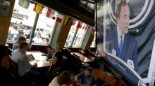 Hockey fans at Toronto's Wheat Sheaf Tavern. (Peter Power/The Globe and Mail)