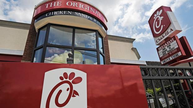 <p>This Thursday, July 19, 2012 photo shows a Chick-fil-A fast food restaurant in Atlanta. Chick-fil-A, whose founder distinguished the fast-food chain by closing on Sunday out of religious piety, continues to mix theology with business and finds itself on the front lines of the nation's culture wars after its president, Dan Cathy, confirmed his opposition to gay marriage in June 2012. </p>
