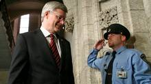 Prime Minister Stephen Harper walks into the House of Commons before the federal budget is tabled on March 29, 2012. (Dave Chan/Dave Chan for The Globe and Mail)