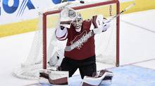 Arizona Coyotes goalie Louis Domingue made a brief stop in the NHL last season, going 1-2-1 with a 2.73 goals-against average in seven games. (Matt Kartozian/USA Today Sports)