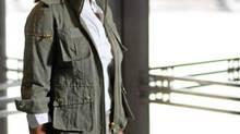 Banana Republic blouse, $46, pant, $124 through www.bananarepublic.com. Smythe jacket, $595 through www.smythelesvestes.com.