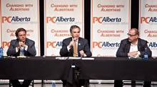PC Alberta leadership candidates, from left, Thomas Lukaszuk, Jim Prentice, Ric McIver take part in the Alberta Progressive Conservative leadership forum in Edmonton, Alberta on Thursday Aug. 21, 2014. (JASON FRANSON/THE CANADIAN PRESS)