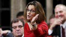 Canada's International Trade Minister Chrystia Freeland speaks in the House of Commons on Parliament Hill in Ottawa on Dec. 7, 2015. (CHRIS WATTIE/REUTERS)