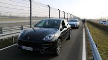 Macan SUVs ready for the Porsche test track at Liepzig. (Peter Cheney/The Globe and Mail)
