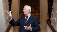 The Governor General of Canada, His Excellency the Right Honourable David Johnston, speaks during Hilary Weston's reception in honour of the Governor General's Performing Arts Awards, held at the Weston's home. (Della Rollins for The Globe and Mail)