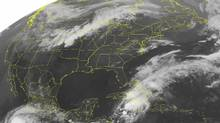 This NOAA satellite image taken Thursday, May 24, 2012 at 1:45 a.m. EDT shows dense cloud cover over the Central U.S. as an active cold front extends from the Upper Great Lakes through the Central Plains. (AP)