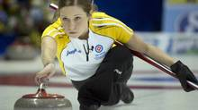 Manitoba's Kaitlyn Lawes releases her rock during second draw curling action against British Columbia at the Scotties Tournament of Hearts Sunday, February 17, 2013 in Kingston, Ont. (Ryan Remiorz/THE CANADIAN PRESS)