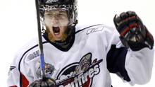 Windsor Spitfires Ryan Ellis celebrates after scoring the fourth goal against the Kelowna Rockets during second period Memorial Cup final hockey action in Rimouski Que. Sunday May 24, 2009. THE CANADIAN PRESS/Ryan Remiorz (Ryan Remiorz/CP)