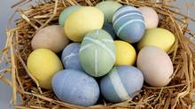 Easter eggs coloured with food such beets, red cabbage and turmeric. (Deborah Baic/The Globe and Mail)