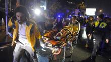 In this Jan. 1, 2017, file photo, medics carry a wounded person at the scene after an attack at a popular nightclub in Istanbul. (AP)