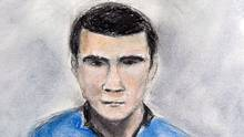 A sketch of Matthew de Grood, appearing in a Calgary court on Tuesday April 22, 2014, by artist Janice Fletcher, is shown. (Janice Fletcher/THE CANADIAN PRESS)