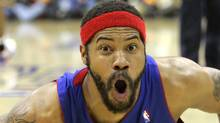 Rasheed Wallace reacts after being called for a blocking foul in the first quarter of an NBA Eastern Conference championship basketball game against the Cleveland Cavaliers Sunday, May 27, 2007, in Cleveland. (Associated Press)