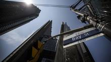 A Bay Street sign is seen in the financial district of Toronto on June 2, 2014. (Mark Blinch for The Globe and Mail)