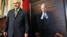 Peter Milliken, 34th Speaker of the House of Commons, takes part in the unveiling of his official portrait on Parliament Hill in Ottawa on Wednesday, May 9, 2012. The portrait was painted by artist Paul Wyse. (Sean Kilpatrick/THE CANADIAN PRESS)