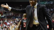 Toronto Raptors head coach Dwane Casey reacts to a foul call during the second half of an NBA basketball game in Portland, Ore., Monday, Dec. 10, 2012. (GREG WAHL-STEPHENS/AP)