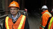 Ontario Minister of Energy Chris Bentley visits the ongoing construction of the Niagara Tunnel Project, scheduled to be completed in 2013, at Niagara Falls on Jan. 18, 2001 (Fernando Morales/The Globe and Mail)