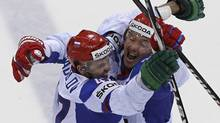Russia's Alexander Radulov and Ilya Kovalchuk celebrate a second goal against Canada during their quarter-final match at the Ice Hockey World Championships in Bratislava (GRIGORY DUKOR/Reuters)