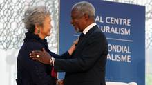 Kofi Annan, former secretary-general of the United Nations and Nobel Peace Prize winner, shares a moment on stage with former Canadian governor-general Adrienne Clarkson in Ottawa on May 23, 2013. Mr. Annan delivered a lecture at an annual event by the Global Centre for Pluralism. (COLE BURSTON FOR THE GLOBE AND MAIL)