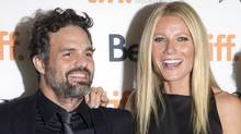 """Gwyneth Paltrow (right) and Mark Ruffalo pose on the red carpet at the gala for the new movie """"Thanks For Sharing"""" during the 2012 Toronto International Film Festival in Toronto on Saturday Sept. 8, 2012. (CP)"""