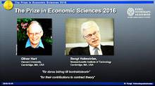 Winners of the Nobel Prize in Economic Sciences British-American economist Oliver Hart and Bengt Holmstrom of Finland. (JONATHAN NACKSTRAND/AFP/Getty Images)