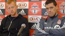 Toronto FC English defender Richard Eckersley (left) and French forward Eric Hassli attend an end-of-season soccer news conference in Toronto, Tuesday, Oct.30, 2012. (Neil Davidson/THE CANADIAN PRESS)