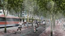 An artist rendering shows the Martin Goodman Trail, a multiuse trail located along Queens Quay south of the LRT tracks. (Waterfront Toronto)