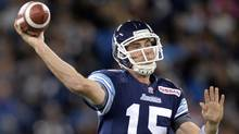 Toronto Argonauts' Ricky Ray looks down field against the Winnipeg Blue Bombers during first quarter CFL action in Toronto on Thursday Oct. 24, 2013. (The Canadian Press)