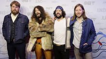 Elsewhere on the red carpet, the grubby Saskatchewan rockers known as The Sheepdogs did their level best to convince Juno attendees that they weren't really the guys from Duck Dynasty. (TREVOR HAGAN/REUTERS)